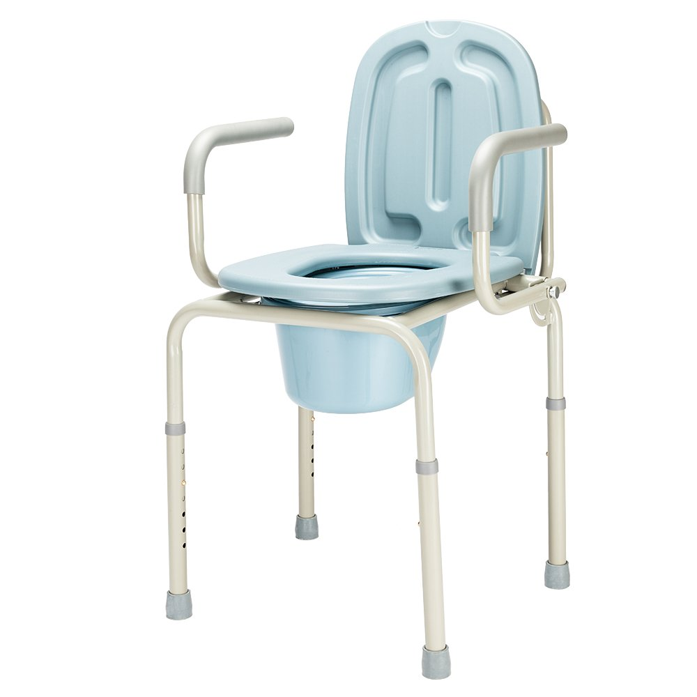 Folding Drop-Arm Bedside Commode Chair Toilet Seat with Commode Bucket and Splash Guard, Height Adjustable