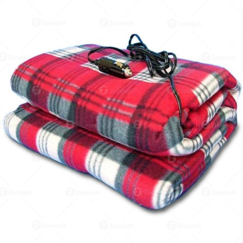 Zone Tech Car Heated Travel Blanket – Plaid Premium Quality 12V Automotive Comfortable Heating Car Seat Blanket Great for Summer