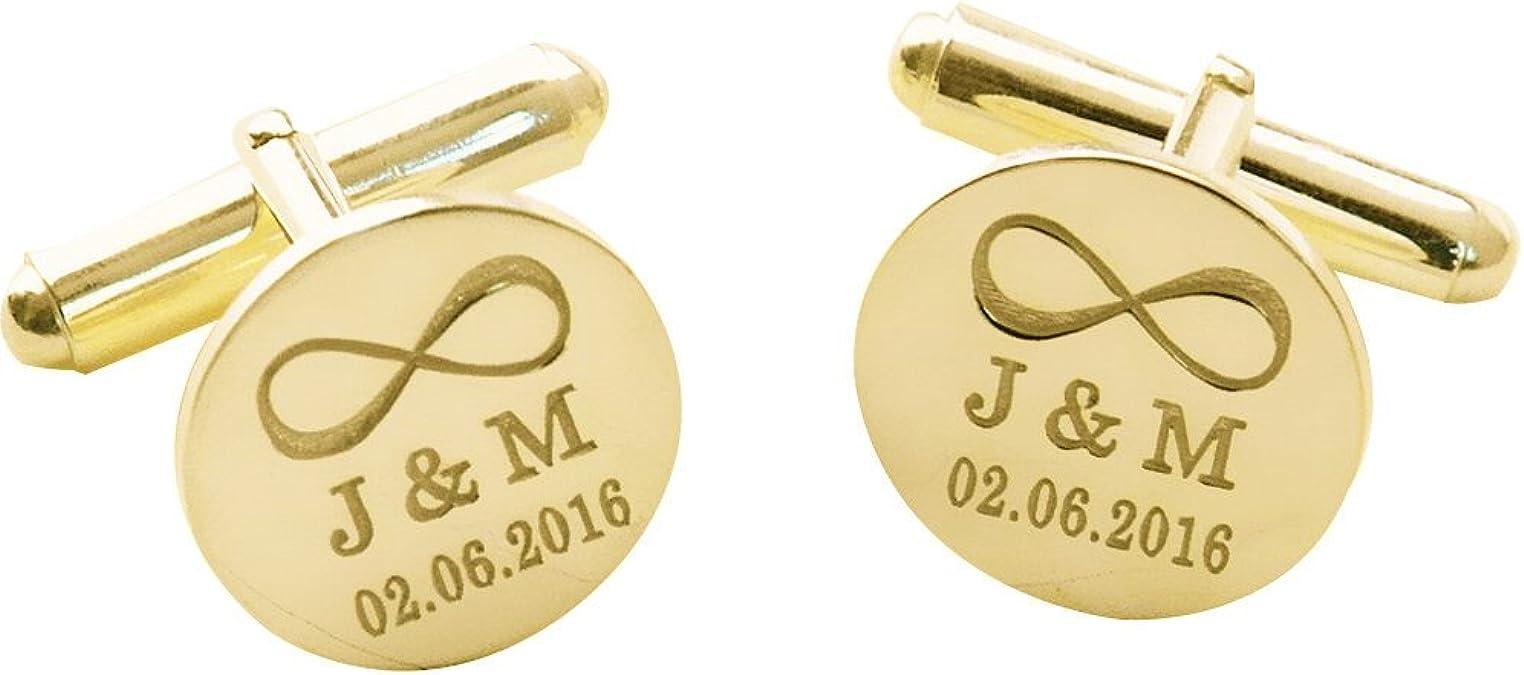 NICKEL FREE Groom Cufflinks Custom Engraved Wedding Initials 18k Yellow Gold Plated 925 Sterling Silver Cufflinks Personalized Cufflinks