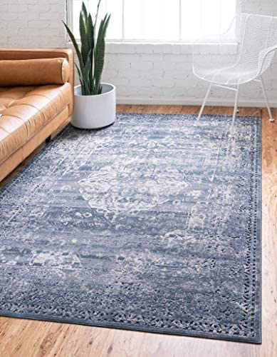 Unique Loom Chateau Collection Distressed Vintage Traditional Textured Navy Blue Beige Area Rug 10 0 x 14 5