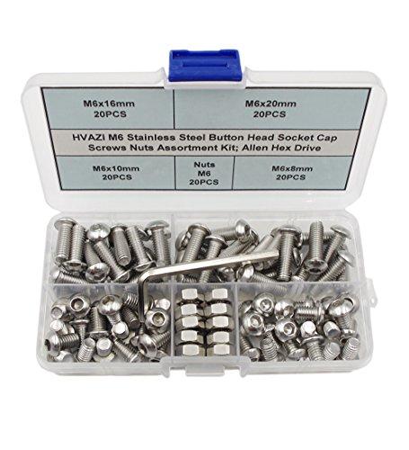 HVAZI M6 Stainless Steel Button Head Socket Cap Screws Nuts Assortment Kit; Allen Hex Drive
