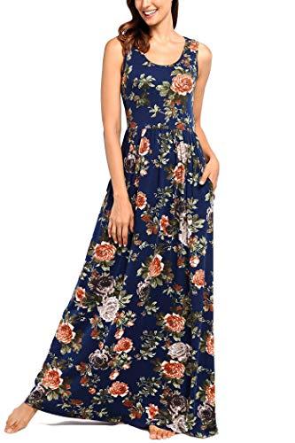 (Comila Maxi Long Dresses for Women, Hot Summer Sundress Basic Crew Neck Sleeveless Tank Top Classic Floral Print Flowy Loose Wedding Party Long Maxi Dress Dark Blue M (US 8-10))