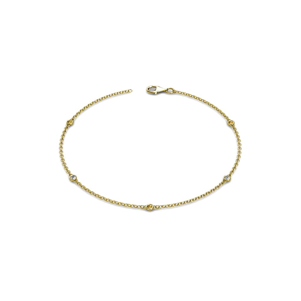Petite Citrine and Diamond (SI2-I1, G-H) 5 Station Bracelet 0.13 cttw in 14K Yellow Gold