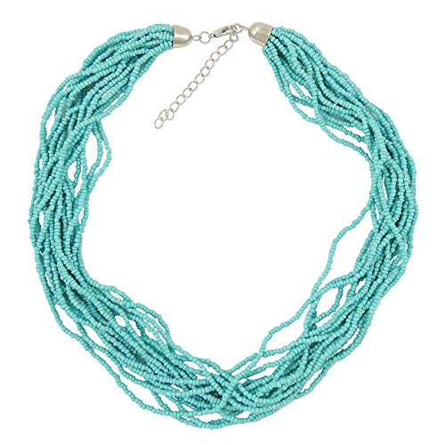 (Turquoise Network Womens Fashion Necklace Multi-Strand Faux Beads Gemstone-Look Boho (Select Color) (Sky Blue))