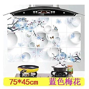 CWAIXX Aceite pegatinas cocina temperatura alta resistencia impermeables azulejos de la cocina Estufa de pared a prueba de humo de aceite pegatinas de ...