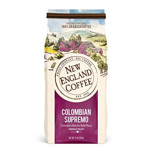 100% Columbian Coffee - New England Coffee Colombian Supremo, Medium Roast Ground Coffee, 11 Ounce Bag
