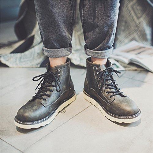 HL-PYL - Herren Schuhe Retro koreanischen Hohe Hohe Hohe Stiefel Ma Dingxue für England 40 Schwarz Grau e32de3