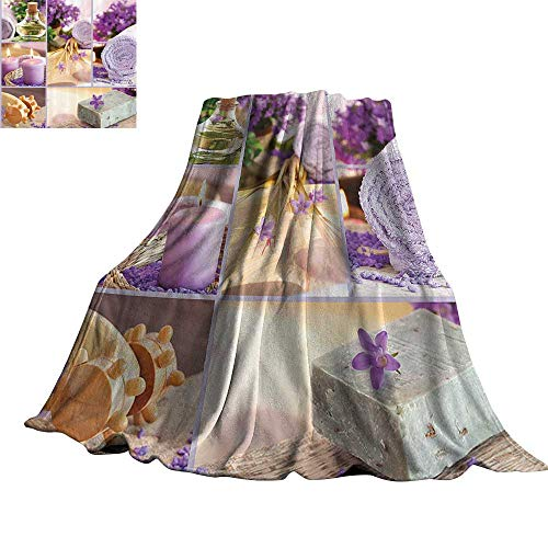 "Price comparison product image WinfreyDecor Spa Decor Blanket Sheets Lavender Themed Relaxing Joyful Spa Day with Aromatherapy Oils and Candles 90"" Wx70 L Purple and White"