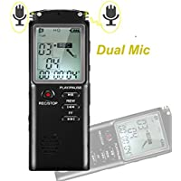 Digital Voice Recorder,Rechargeable 8GB Audio Recorder Dictaphone with USB Port, Double Microphone, Voice Activated, MP3 Music Player -Black