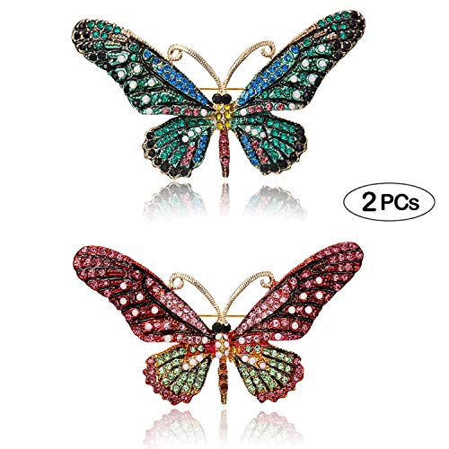 (RINHOO FRIENDSHIP Vintage Butterfly Brooch Pin Rhinestones- Crystal Antique Cute Animal Shape Corsages Scarf Clips Brooches for Women)