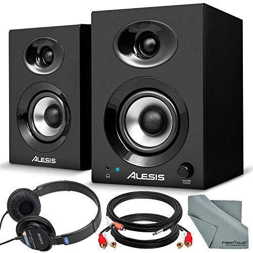 "Alesis Elevate 3 MKII 20W 3"" Two-Way Active Desktop Studio Speakers and Deluxe Bundle w/Monitoring Headphones, Cables, and Fibertique Cloth"