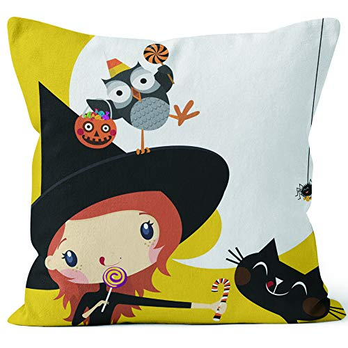 (Nine City Cute Witch in Halloween Invitation Throw Pillow Cushion Cover,HD Printing Decorative Square Accent Pillow Case,36