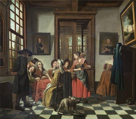 Oil Painting 'Jan Jozef Horemans II - Card Game, 18th Century' 18 x 20 inch / 46 x 52 cm , on High Definition HD canvas prints is for Gifts - 18th Century Eyeglasses
