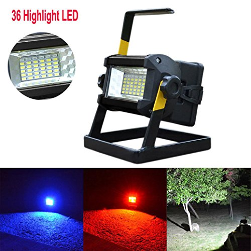 Quaanti Floodlight,Super 2018 New Arrival 50W 36 LED Portable Rechargeable Flood Light Spot Work Camping Fishing Lamp US Plug Dropshipping (Black) by Quaanti