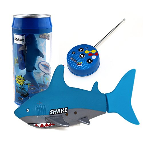 Tipmant Mini Remote Control Toy Electric RC Fish Boat Shark Swim in Water Kids Gift - Blue -