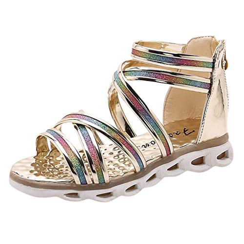 - Tantisy ♣↭♣ Girls Fashion Sandals Gladiator Summer Flats with Glitter Upper/Closed Heel Sandal (Little Kid/Big Kid) Gold