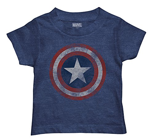 Captain America Star - Marvel Boys' Toddler Captain America T-Shirt, Navy Heather, 3T