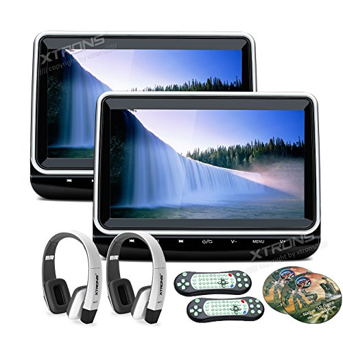 Pair HD TFT Digital Screen Touch Panel Car Auto Headrest DVD Player 1080P Video HDMI Port One Pair of New Version White Headphones Included (1080p Full Hd Panels)
