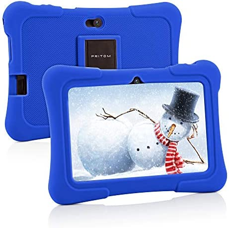 Pritom 7 inch Kids Tablet, Quad Core Android 10, 16GB ROM, WiFi, Bluetooth, Dual Camera, Educationl, Games, Parental Control, Kids Software Pre-Installed with Kids-Tablet Case(Dark Blue)