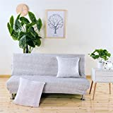 RUGAI-UE Sofa Slipcover Armless sofa bed mattress cover type elastic folding sofa bed cover non slip all seasons,120-155cm sofa bed use,Macarons ash