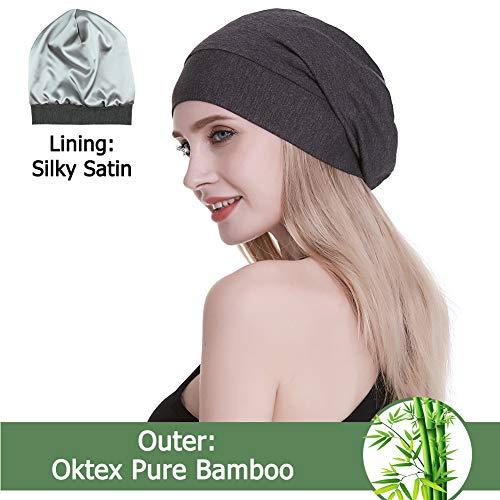 d Sleep Cap Casual Slouchy Bonnet Headwear Curly Hair Beanie Dark Heather Gray ()