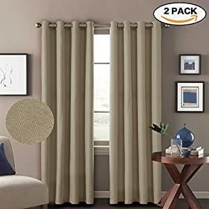 H.Versailtex (Set of 2) Thermal Insulated Textured Rich Material Linen Extra Long Curtains,Traditional Antique Grommet Patio Door Curtain Panels,52x108 inches - Light Taupe