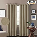 84 grommet panels - H.VERSAILTEX Premium Energy Saving Thermal Insulated Textured Linen Living Room Curtains,Ultra Elegant 8 Grommets per Panel,52 by 84 - Inch (Set of 2) - Light Taupe