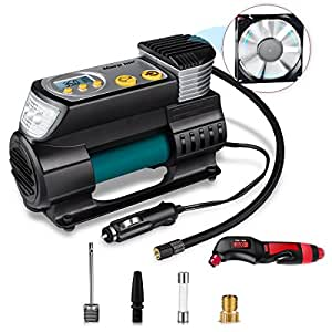 DERMAROLLERGUY Air Compressor Pump,Morpilot 12V DC Digital Tire Inflator With 150 PSI Tire Pressure Gauge,Portable Air Compressor with Continuous Inflation Function,LED Light, 3 Nozzle Adaptors