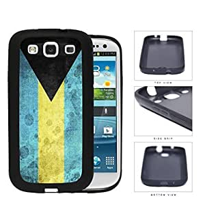 Bahamas Flag Black Triangle with Aquamarine and Yellow Horizontal Bands Grunge Hard Rubber TPU Phone Case Cover Samsung Galaxy S3 I9300