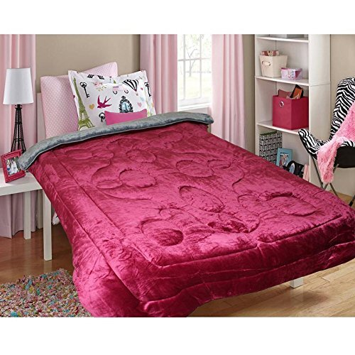 MSE Flora Comforter Model(Made In India) Stylish Flora Comforter Reversible Woolen Chennile Bed Comforter (Size:220X240 Cm Approx) Maroon/Grey Double Multi