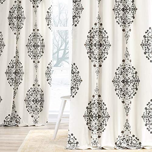 HPD Half Price Drapes PRTW-D41B-96 Printed Cotton Twill Curtain 1 Panel