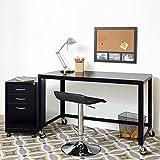 Industrial Modern 48-inch Wide Black Steel Mobile Desk Rolling Cart 21113