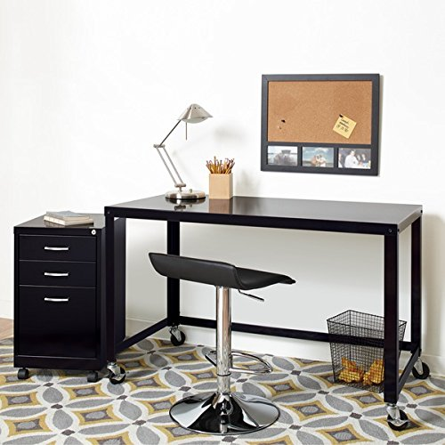 Industrial Modern 48-inch Wide Black Steel Mobile Desk Rolling Cart 21113 by Industrial Modern