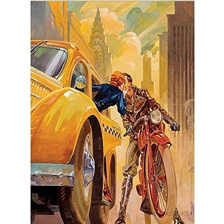 HUABI Sin Marco 40x50cm KYKDY Enmarcado DIY Pintura Por Números Moto Acrílico Pintura Moderna Imagen Decoración para el Hogar Para la Sala 40x50cm RA3155