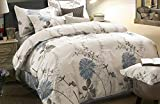 Wake In Cloud - Floral Duvet Cover Set Queen, 100% Soft Cotton Bedding