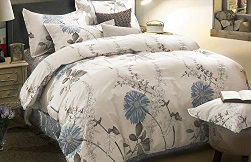 (Wake In Cloud - Floral Duvet Cover Set, 100% Cotton Bedding, Botanical Flowers Pattern Printed, with Zipper Closure (3pcs, King Size) )