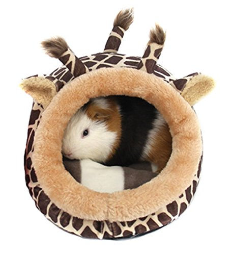 Stock Show Small Animal Bed House, Winter Warm Plush Sleep Play Cave Hut Nest Cage Accessories for Dwarf Hamster Guinea Pig Squirrel Chinchilla, Giraffe