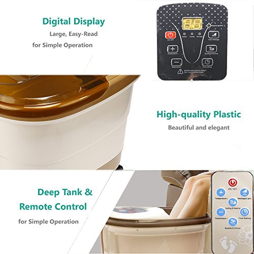 Foot Spa Bath Massager with Heat and Water Jet Electric Pedicure Salon Footbath Tub Bubbles Rolling Vibration Massage, Invigorates, Soothes and Relaxes Tired and Achy Feet