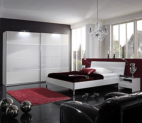 Schlafzimmer 4-tlg »LITE« in alpinweiß Glas und Strasskristall