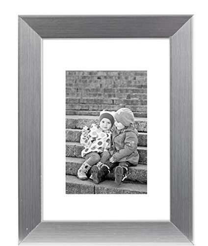 8x10 Silver Picture Frame - Made to Display Pictures 5x7 wit