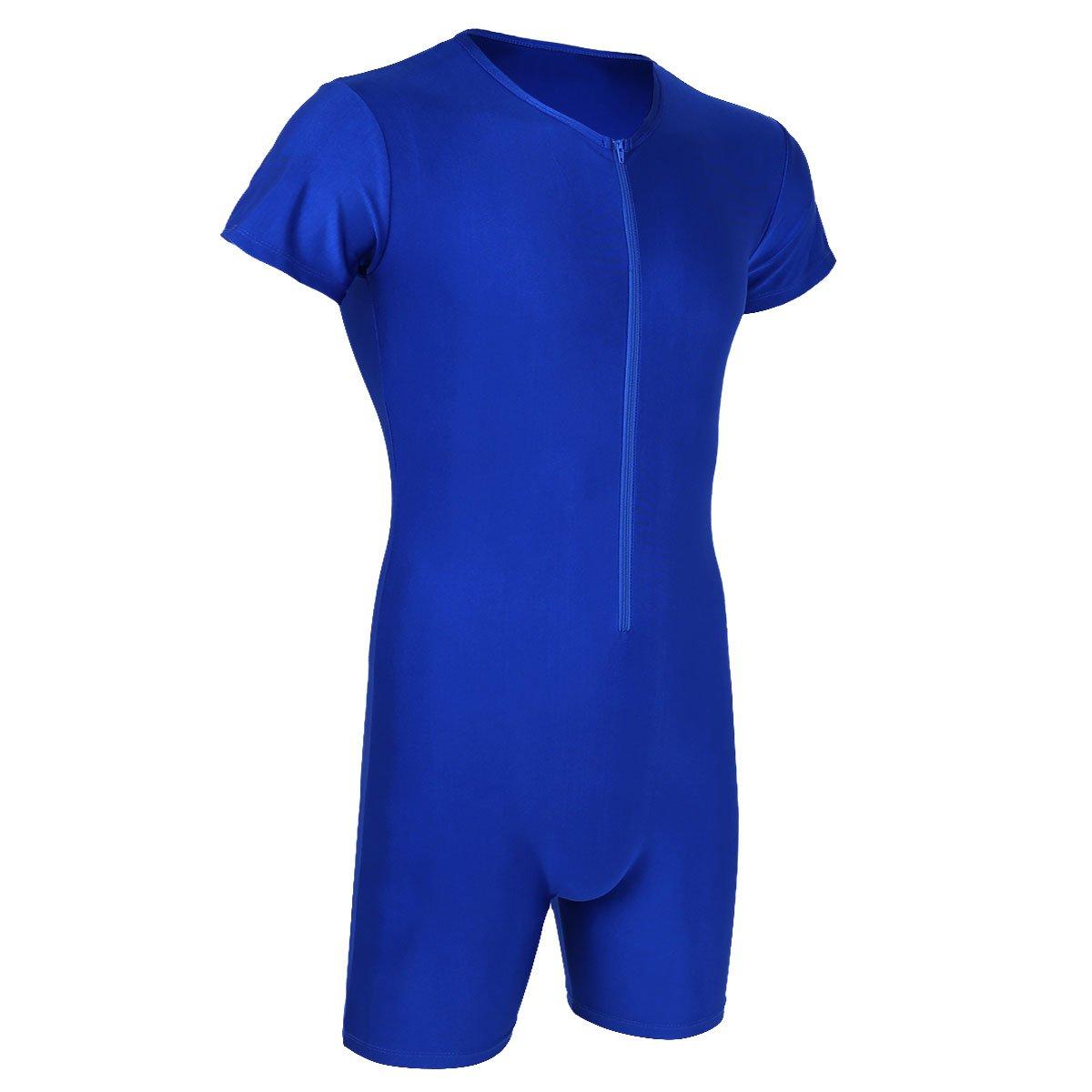 Yeahdor Mens Lycra Spandex Short Sleeve Bodysuit Leotard Wrestling Singlet Thongs Underwear Boxer Briefs