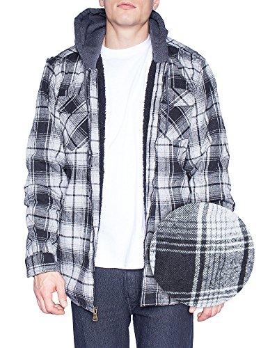 Walnut Creek Mens Flannel Jacket Zip Up Fleece Hoodie Big & Tall Sherpa Heavy Lined Shirt (Medium,Grey/Black)