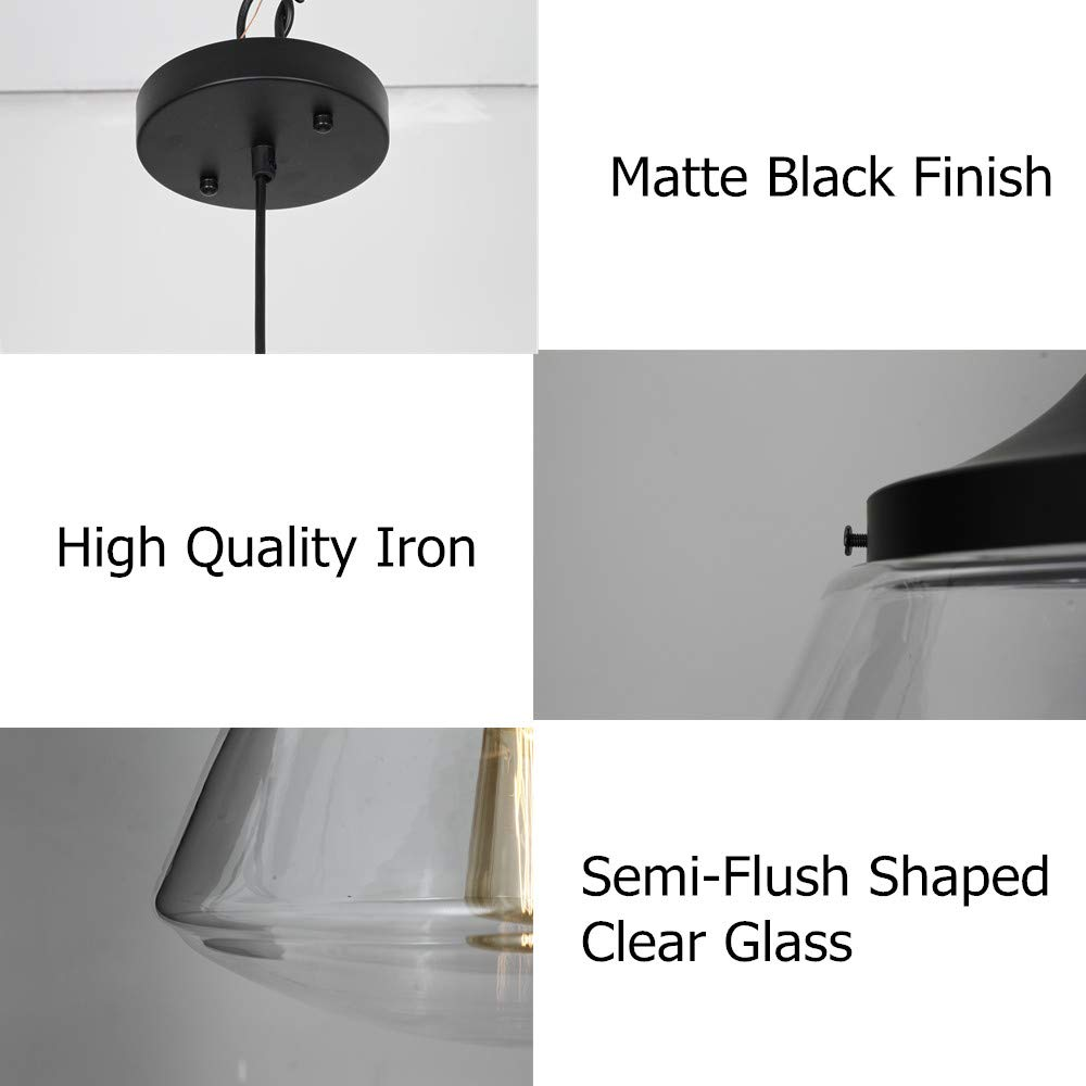 Industrial Semi-Flush Mount Ceiling Light, 10'' Clear Glass Schoolhouse Farmhouse Pendant Lighting Fixture with Matte Black Finish, UL Listed by LAMPUNDIT (Image #6)