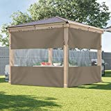 COVERS & ALL Outdoor Vinyl Curtain with Clear Tarp Panel 12 Oz - 100% UV & Weather Resistant Outdoor Vinyl Curtain - with Rustproof Grommets - for Pergola, Porch, Gazebos (10' x 8', Beige)