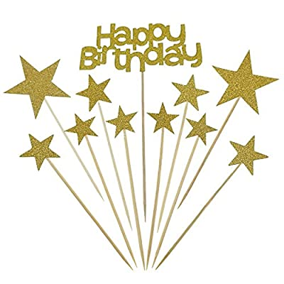 Bilipala Happy Birthday Monogram and Gold Star Cake Cupcake Decorations Toppers Picks Supplies, 21 Counts