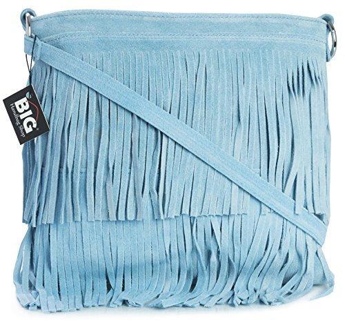 bandoulière Big à sac nl406 daim en franges Bleu frange Handbag Sac Shop avec Pastel à main XHXqfw