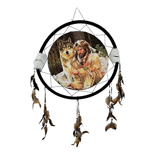 WOLF WITH HUNTER Dream Catcher  Natural Wall Hanging