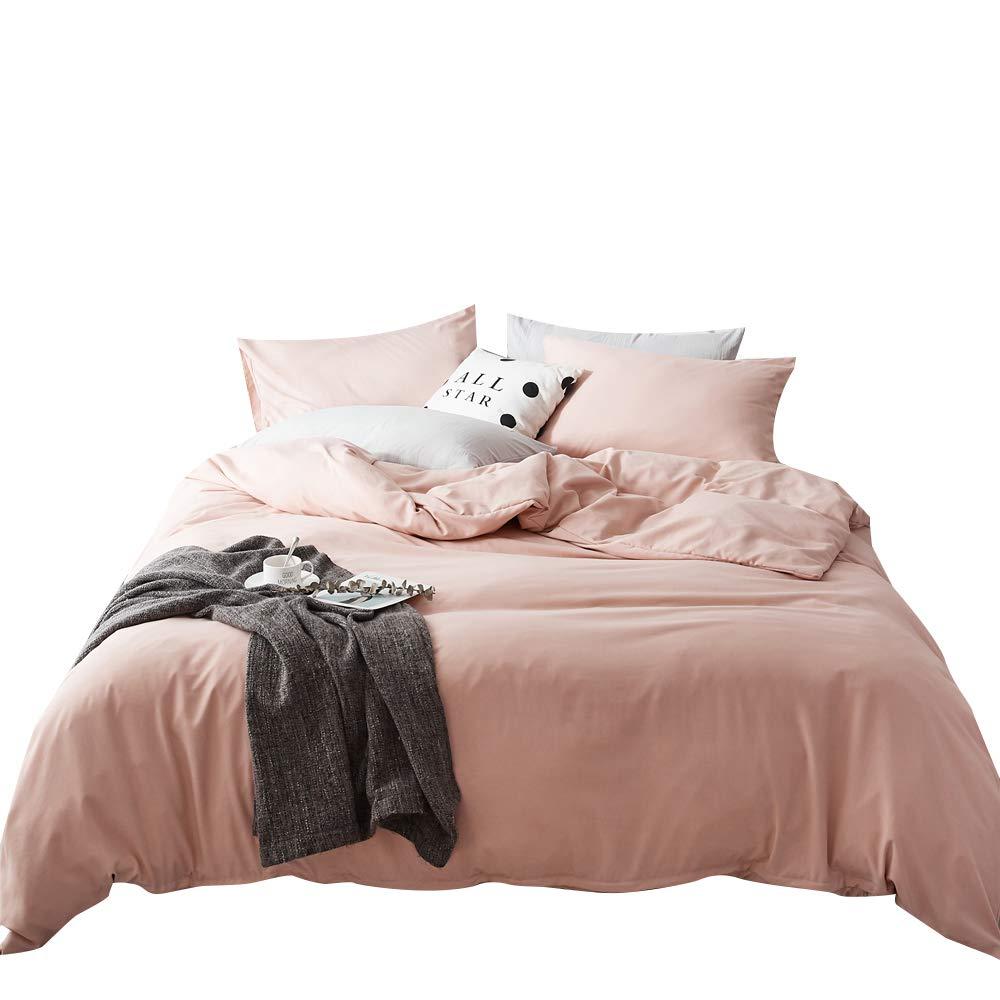 FenDie 掛け布団カバー3点セット 無地 軽量 ポリエステル 羽毛布団カバーと枕カバー プレミアムウォッシュコットンマイクロファイバー掛け布団カバーセット 耐久性と超ソフト ツイン ピンク FD23121-T1 B07J3WNP8Y Pink/Peach ツイン