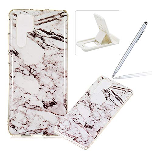 Price comparison product image Soft Case for Huawei P30 Pro, Anti Scratch Cover for Huawei P30 Pro, Herzzer Stylish Pretty White Marble Stone Pattern TPU Bumper Flexible Shock Scratch Resist Rubber Case