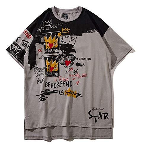 Tamaño Ojal Hip Manga Para Gran Ropa Corta Unisex Tops High Al032 gray Verano Tifer De Street Hop Con Casual Camisa Hombre T8SBqn